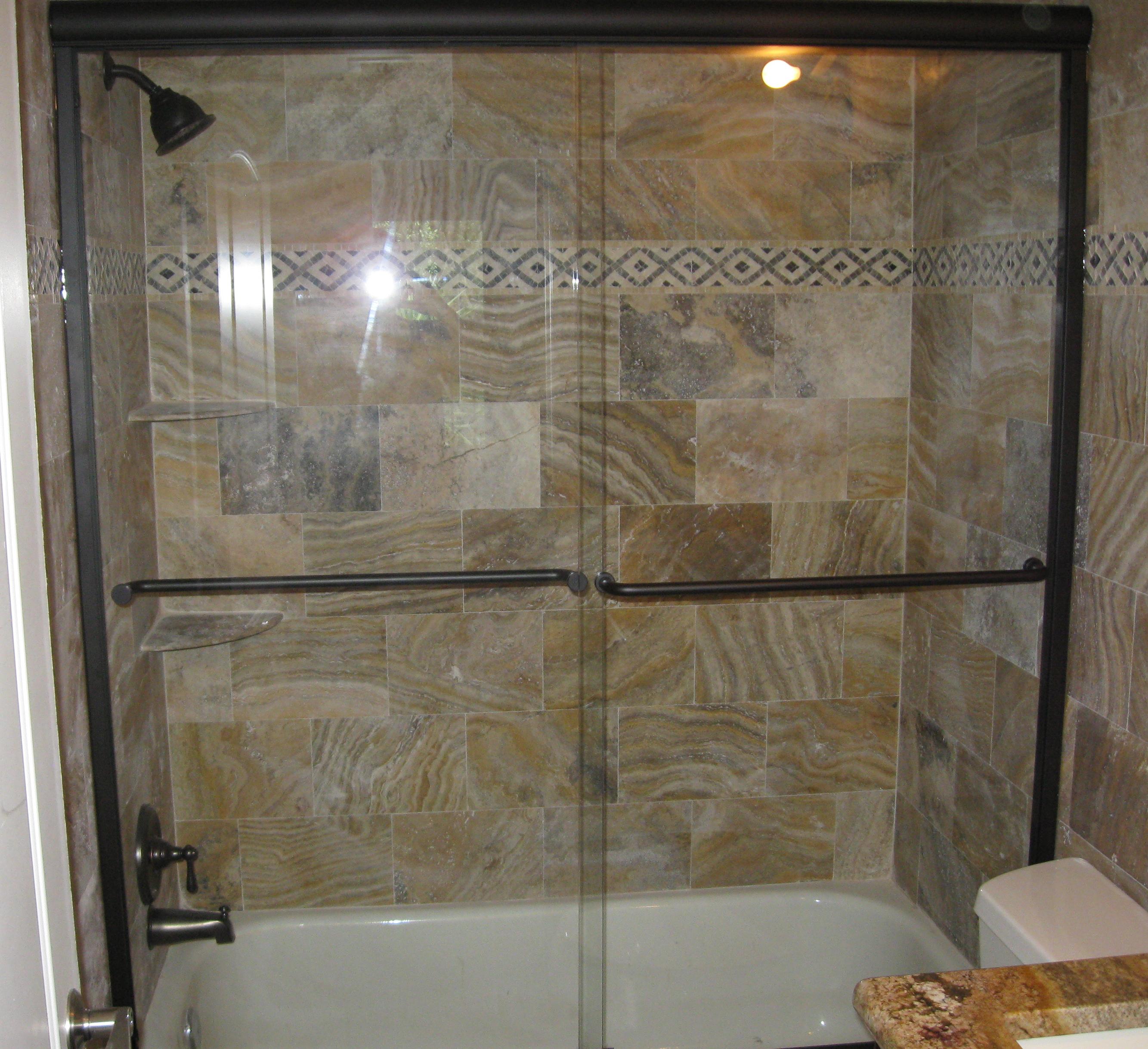Semi Frameless Tub Slider, Oil Rub Bronze Hardware, Clear Glass